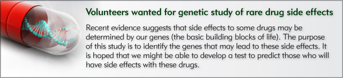 Volunteers wanted for genetic study of rare drug side effects IBD